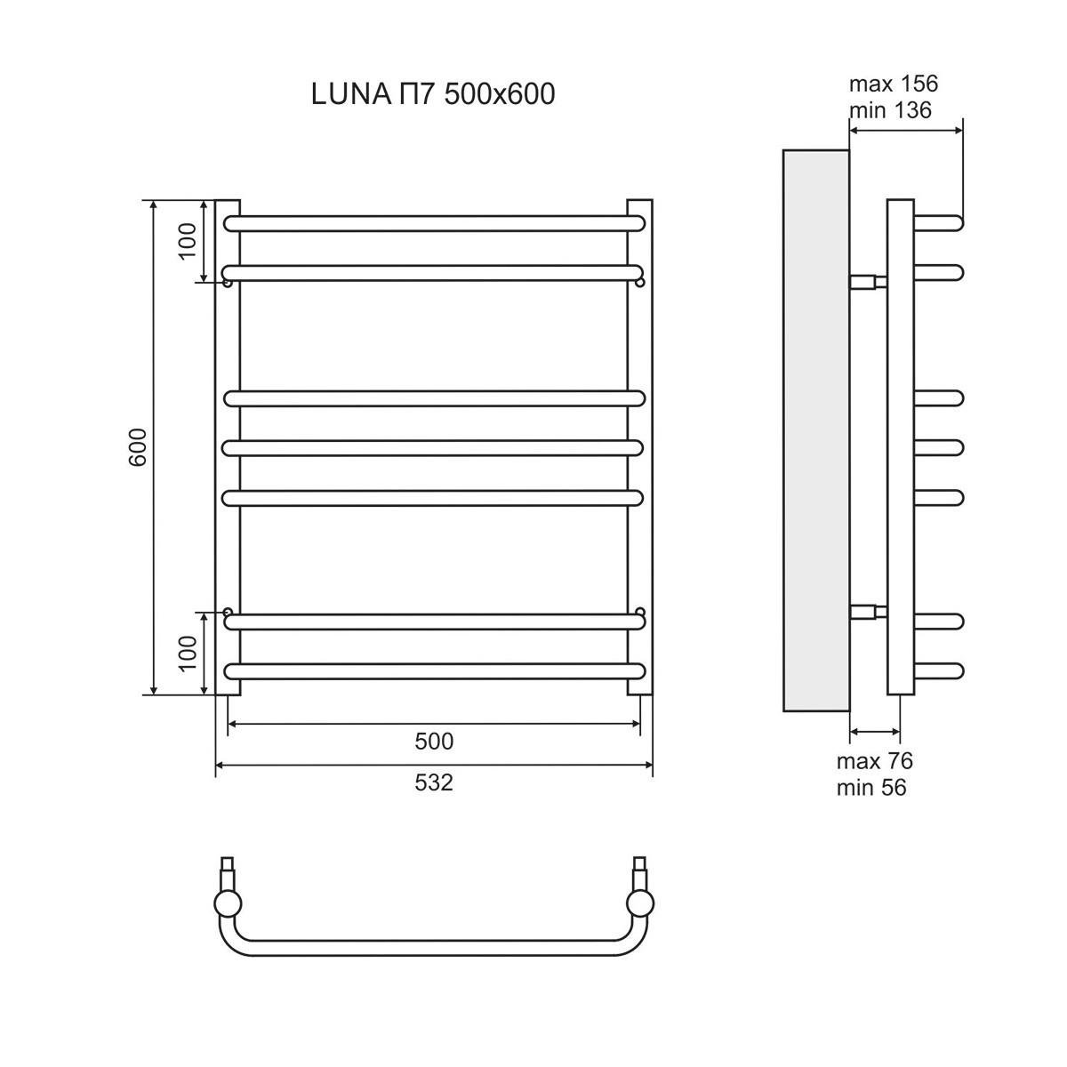 """Полотенцесушитель """"Lemark"""" Luna П7 500*600"""