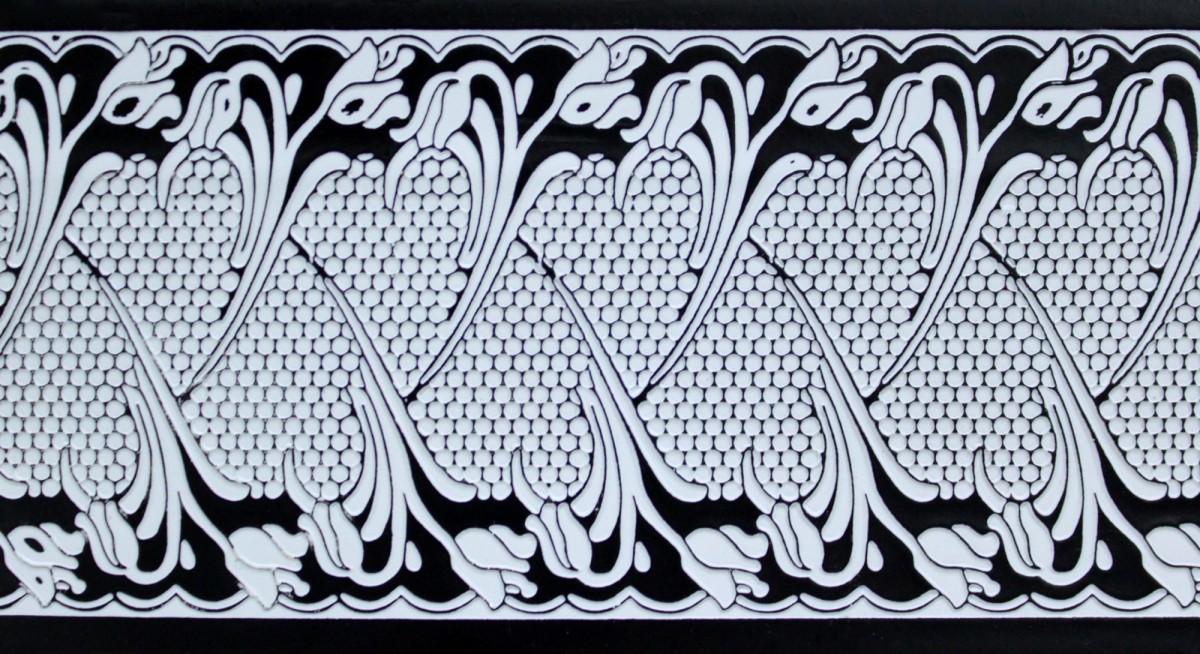 Планка декорат. багетная Прованс белый с черным 1м