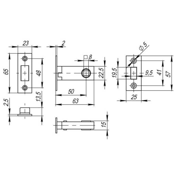 Защелка врезная Fuaro Magnet M12-50-25 GR, графит